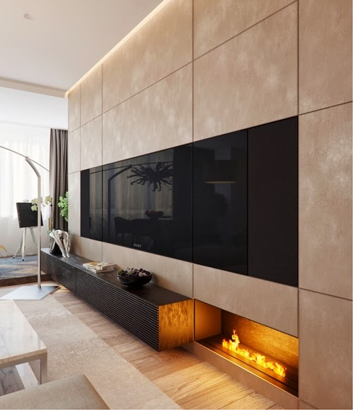 Contemporary Fireplace Designs: World Of Architecture: 20 Contemporary Fireplace Ideas