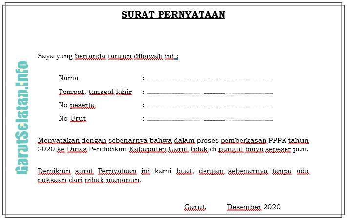 Contoh Surat Pernyataan Pppk