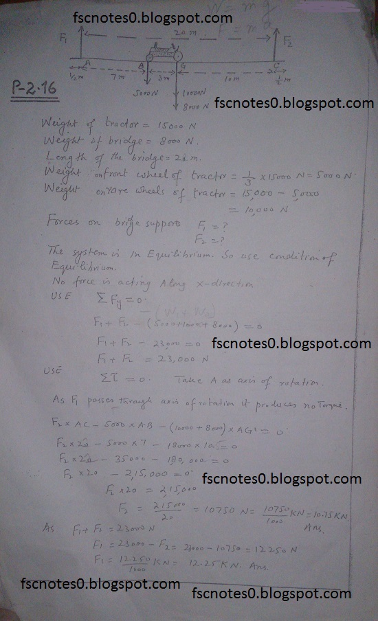 F.Sc ICS Notes: Physics XI: Chapter 2 Vectors and Equilibrium Numerical Problems Asad Hussain 5
