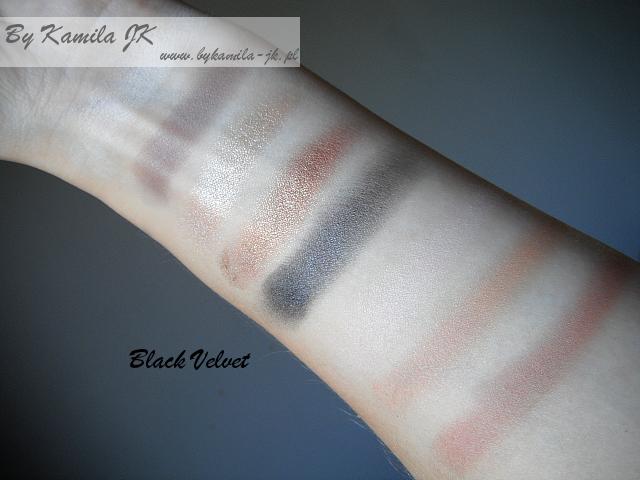Makeup Revolution paleta cieni Black Velvet swatche MUR