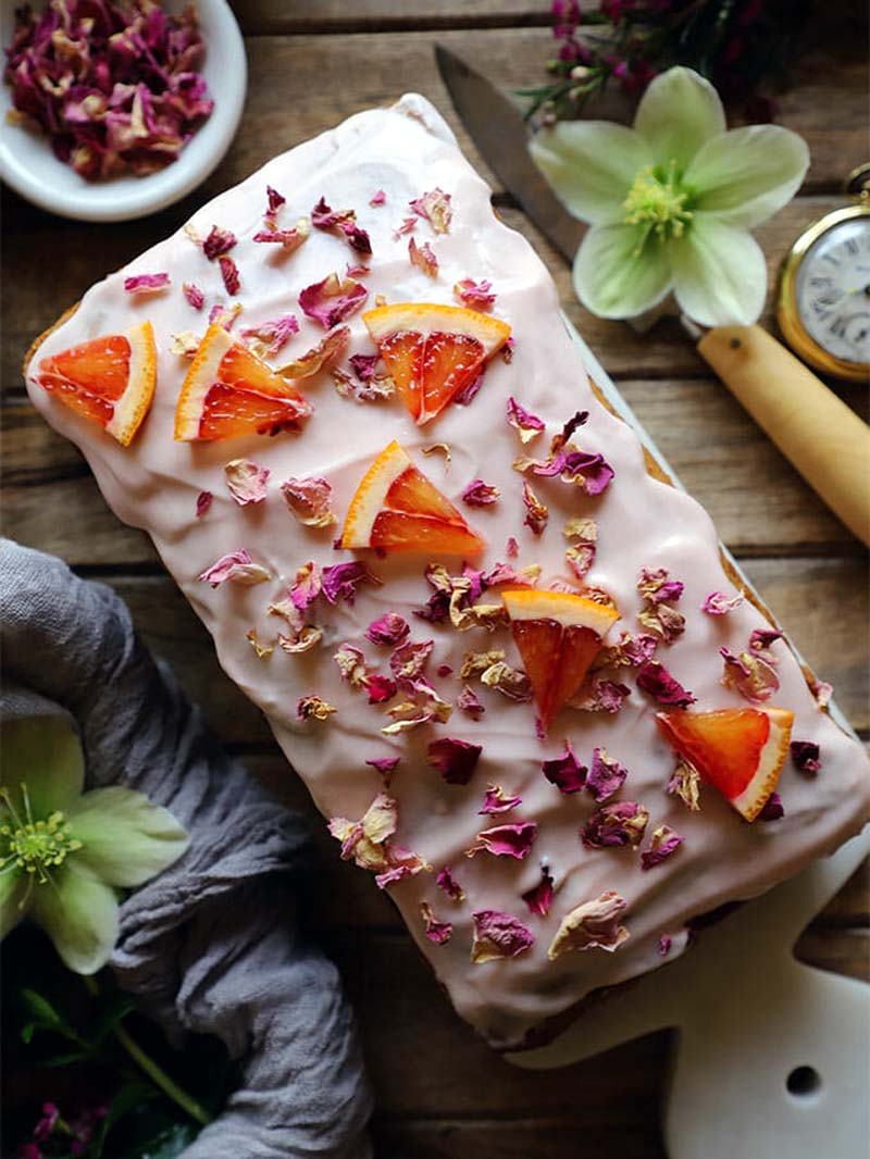 Rose Cardamom and Blood Orange Loaf Cake