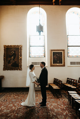 bride and groom in knowles chapel
