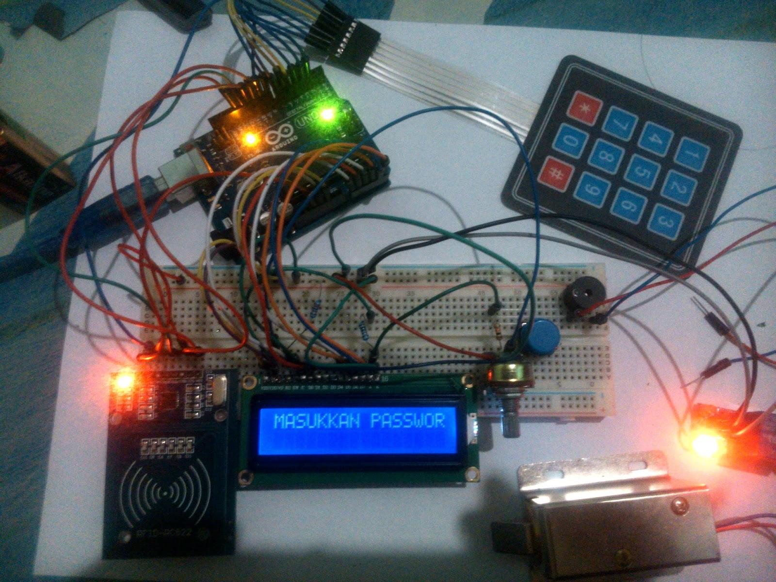 Arduino uno rfid rc keypad lcd c relay tosolenoid