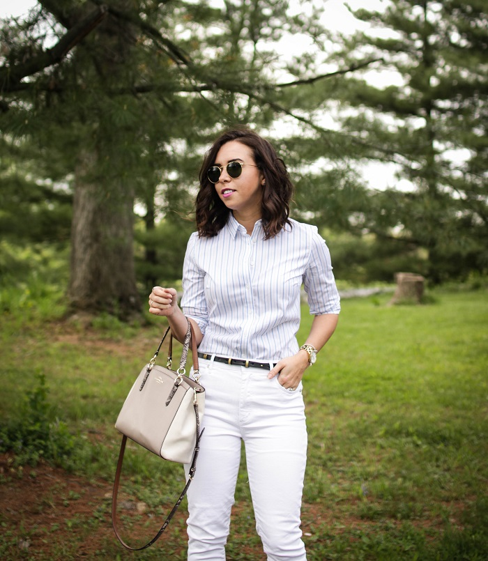 How to style a classic button down | A.Viza Style | Loft white jeans - banana republic button down - banana republic fringe orange heels - office style