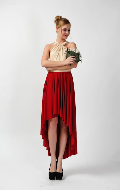High low red dress bridesmaid