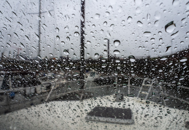Photo of rain on Ravensdale's windscreen on Tuesday morning