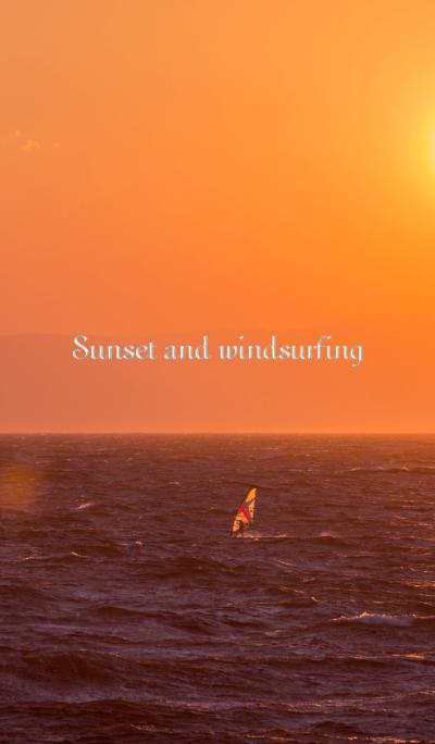Sunset and windsurfing
