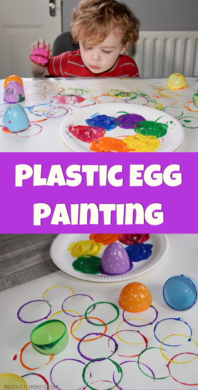 Plastic easter egg painting for toddlers and preschoolers. Easy Easter craft for kids.