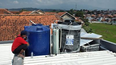 pemasangan filter air sumur dengan dua toren