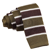 MENS KNITTED OLIVE GREEN, BROWN WITH WHITE STRIPES TIE