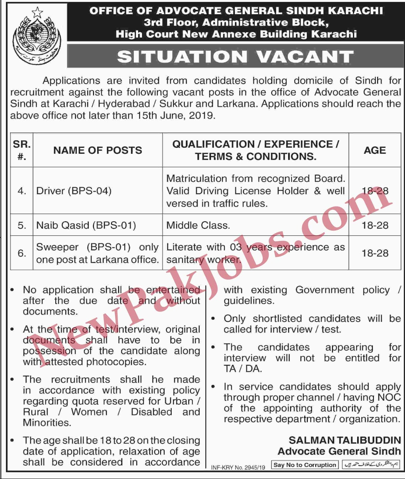 Govt Jobs for Drivers, Naib Qasid, Sweeper in Office of Advocate General Sindh Karachi