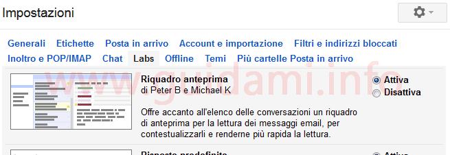 Gmail Labs Riquadro anteprima