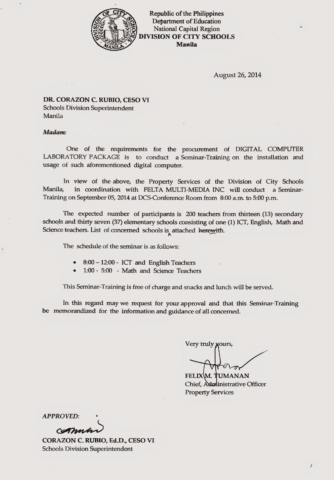 Department of Education Manila: Division Memorandum No ...