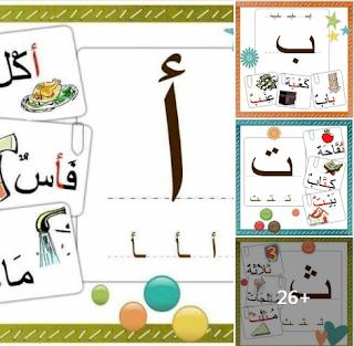بطاقات رائعة للحروف مع أوضاعها وكلمات عليها وصورة لكل كلمة