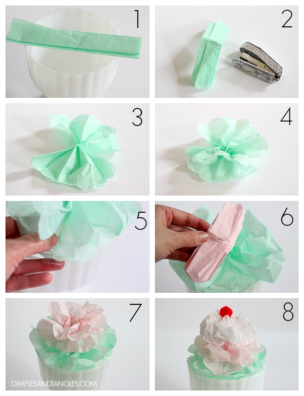diy tissue paper craft, tissue paper ice cream sundaes, ice cream decorations