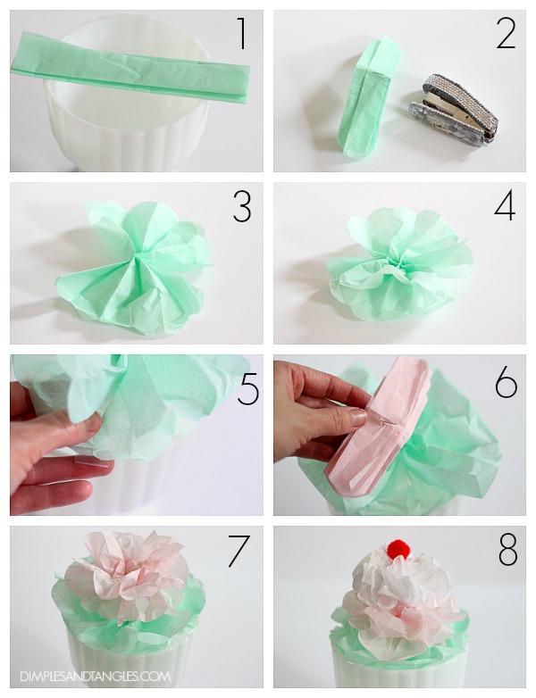 Diy Tissue Paper Craft Ice Cream Sundaes Decorations