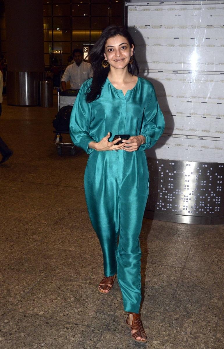 Kajal Agarwal Photos at Mumbai Airport Without Make Up
