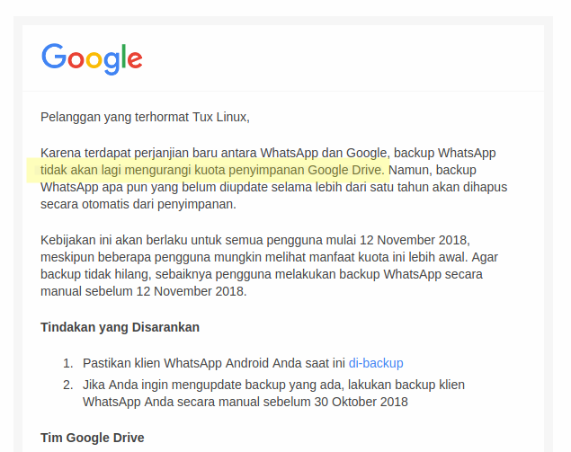 Update WhatsApp Perihal Penyimpanan History Chat Di Google Drive