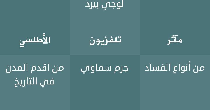 حلول اللغز اليومي الاثنين 12 3 2018 فطحل العرب العالم كله