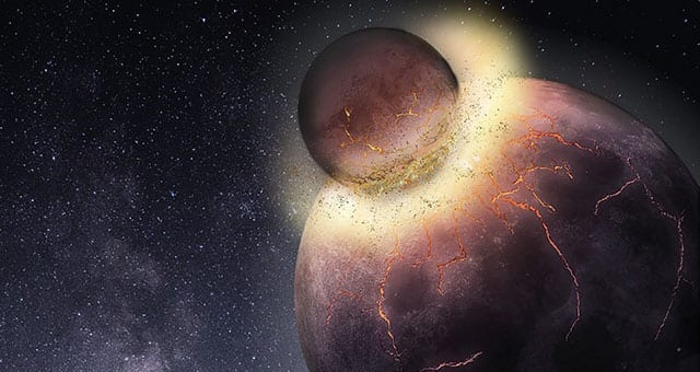 Rice University petrologists have found Earth most likely received the bulk of its carbon, nitrogen and other life-essential volatile elements from the planetary collision that created the moon more than 4.4 billion years ago. (Image courtesy of Rice University)