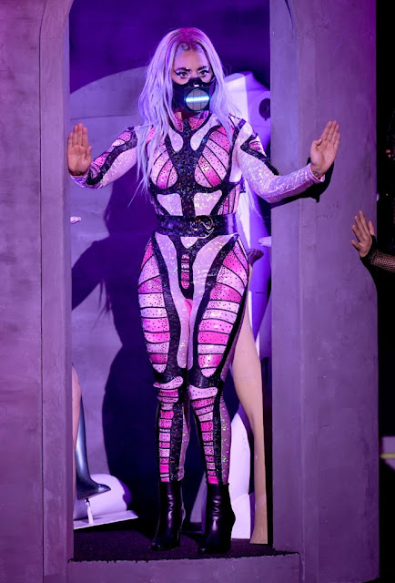 Lady Gaga is wearing a BCALLA catsuit