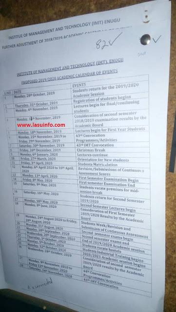 IMT Enugu Academic Calendar Schedule 2019/2020 [Proposed]