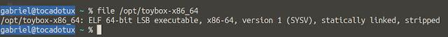Executando o comando file no binário do toybox, podemos ver a descrição ELF 64-bit bem no inicio.