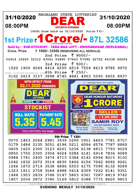 Lottery Sambad 31-10-2020, Lottery Sambad 8 pm results, Nagaland Lottery Results, Lottery Sambad Today Results Live, Night results