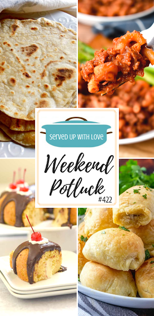 Weekend Potluck featured recipes include Boston Cream Bundt Cake, Homemade Beefaroni, Easy Homemade Flour Tortillas, 3 Ingredient Sausage Rolls, and so much more.