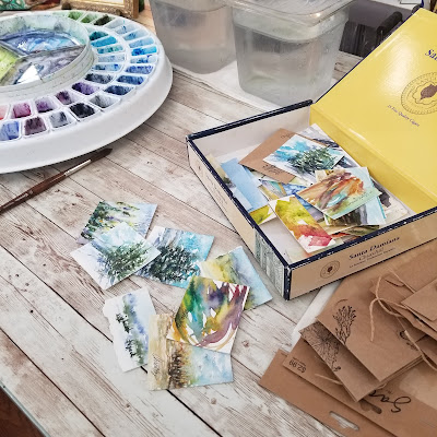 An assortment of watercolor warm ups.  © 2021 Christy Sheeler Artist
