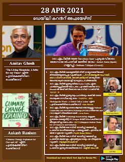 Daily Malayalam Current Affairs 28 Apr 2021