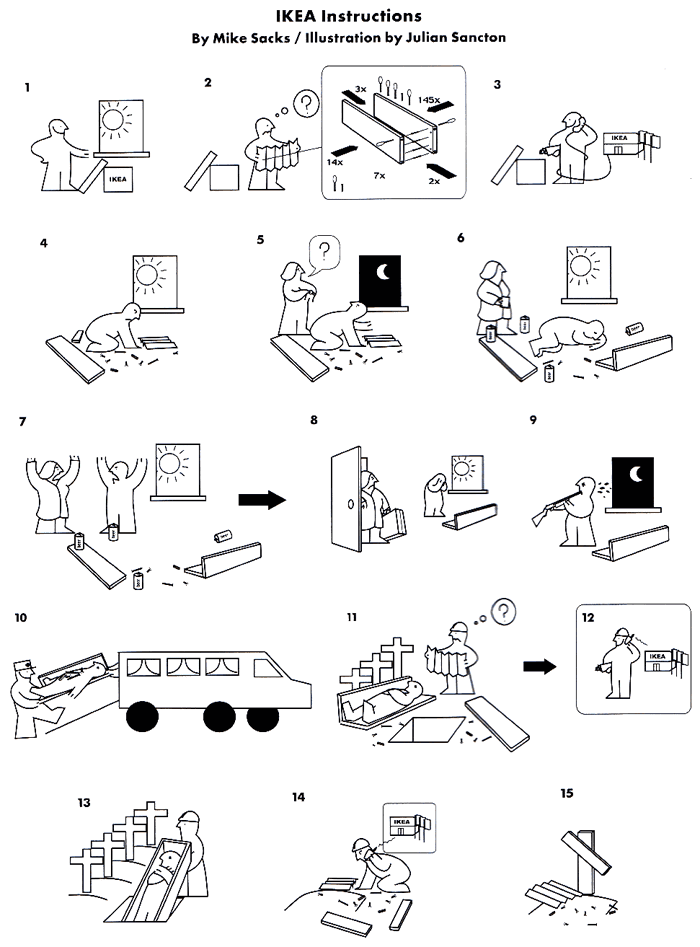 ikea instructions cartoon funny joke pictures. Black Bedroom Furniture Sets. Home Design Ideas