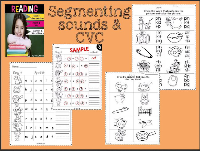 cvc, segmenting sounds and finger spelling to help with phonics instruction