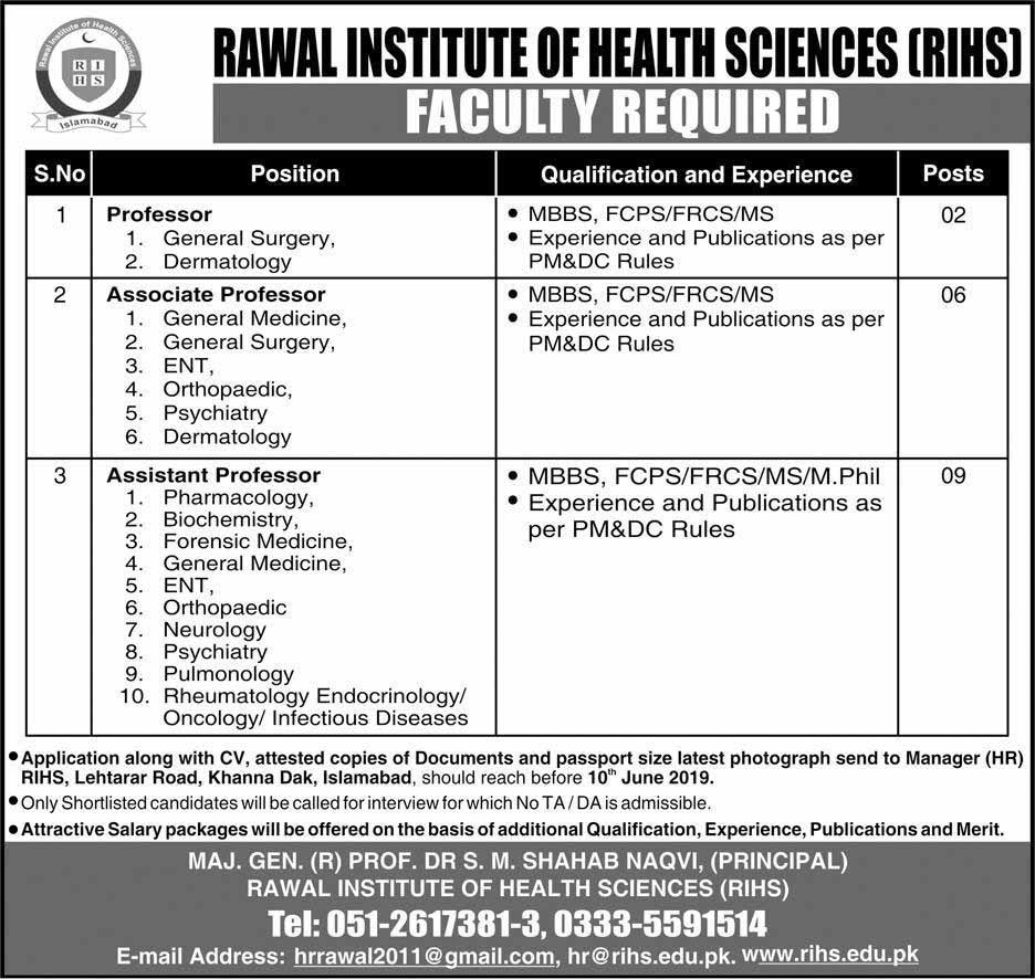Rawal Institute of Health Sciences RIHS Jobs 02 June 2019