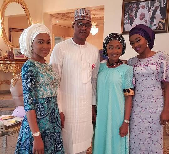 President Buhari's daughters Zahra, Halima and Hanan pictured in state house, Abuja.