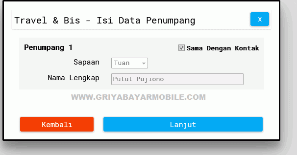 data penumpang travel baraya