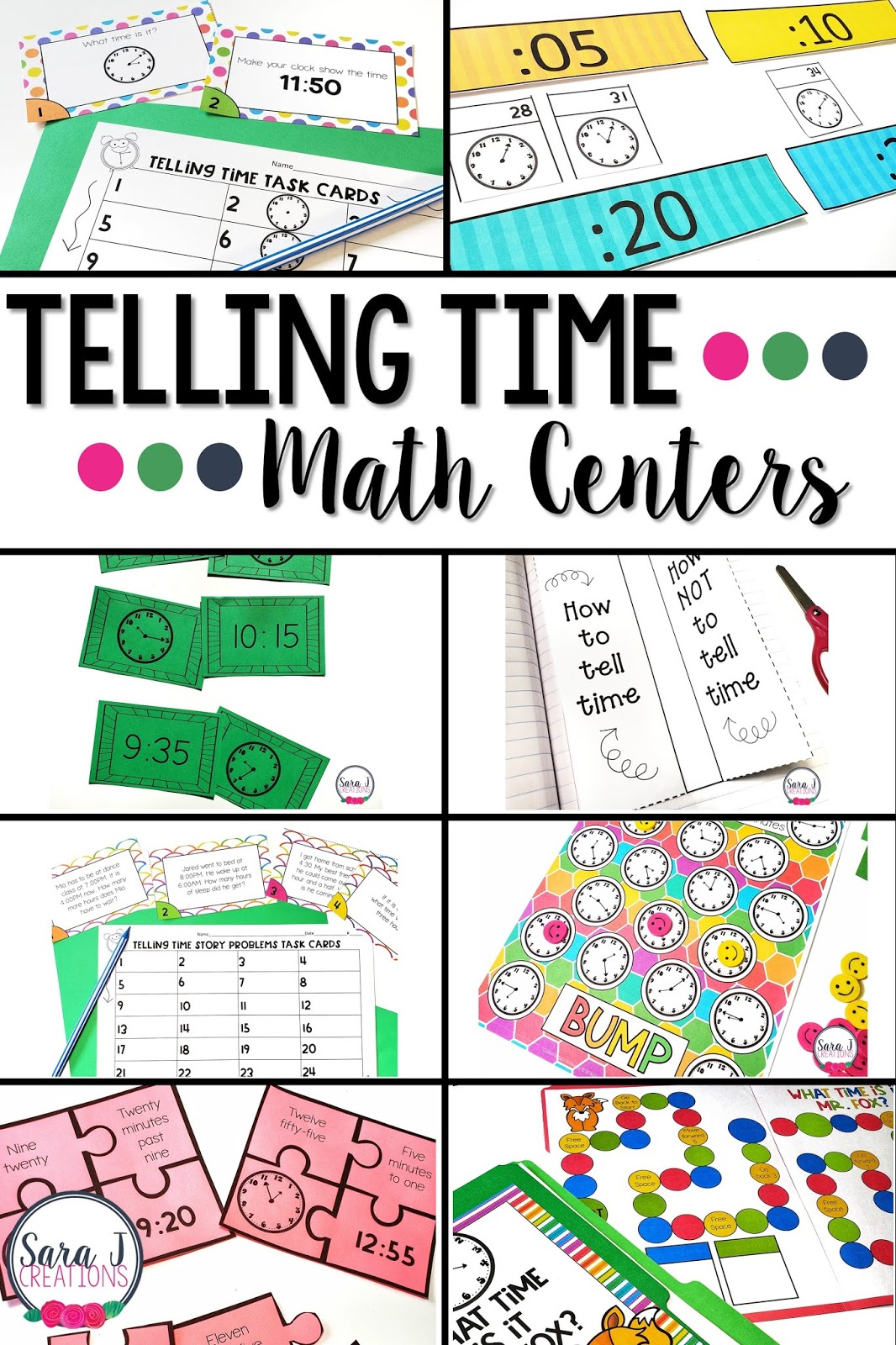 Make teaching telling time more fun and hands-on with these telling time math centers. Eight ready to go centers that have minimal prep, but maximum fun. Students practice reading a clock through games, task cards, puzzles, matching activities, interactive notebooks, and more. These activities are designed for 2nd grade, but could be adapted for first grade or even 3rd grade.