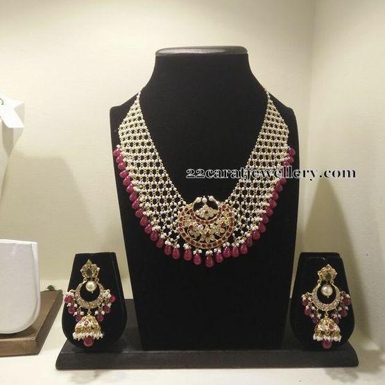 Pearls Strings Necklace Chandbalis