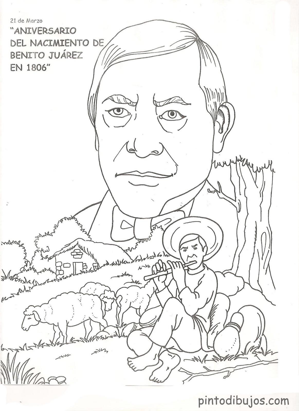 Benito Júarez - Dibujos para Colorear | Ciclo Escolar