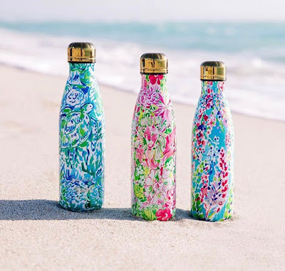 S'well water bottles Lilly Pulitzer design on beach
