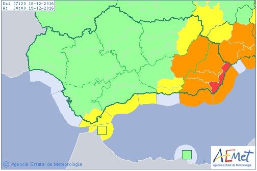 Almería en aviso rojo por lluvias