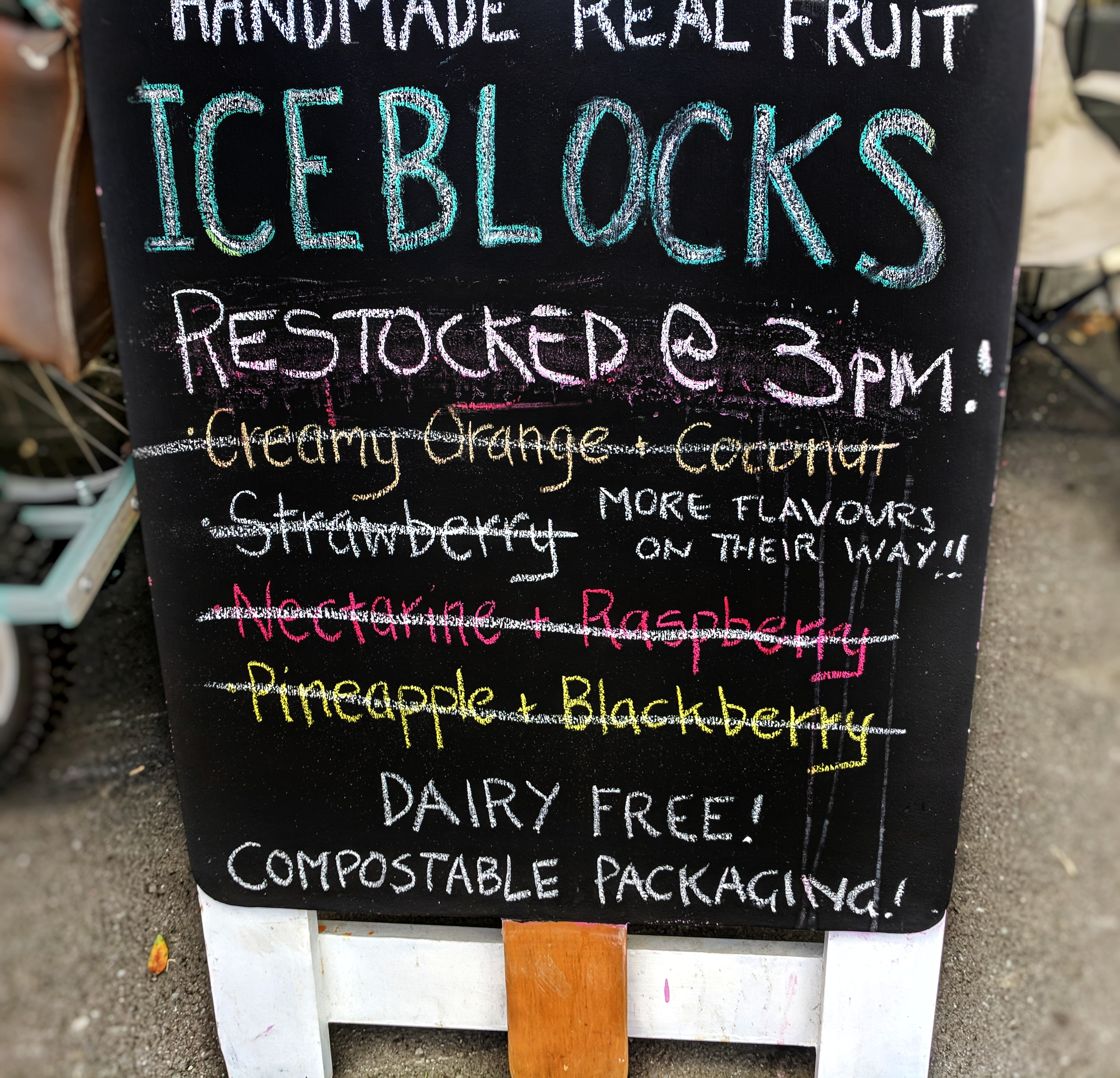 'Sold out' iceblocks sign at the cricket