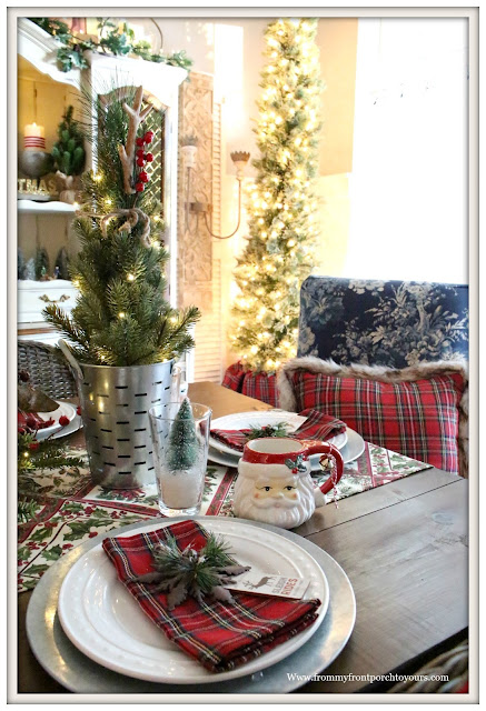 Christmas Tree Farm Theme-Red Plaid-French Country Farmhouse Christmas Dining Room-From My Front Porch To Yours