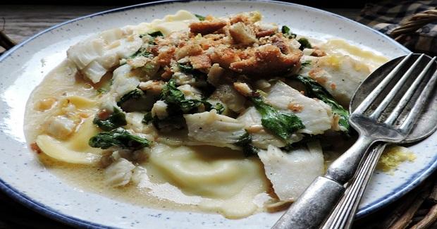 Cheese Ravioli With Cod And Arugula Recipe