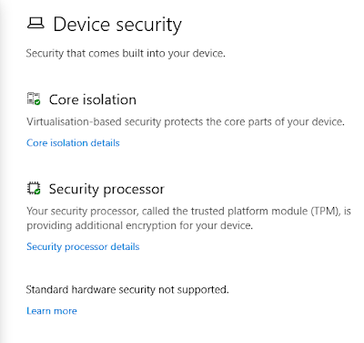 Windows 10 Device Security settings