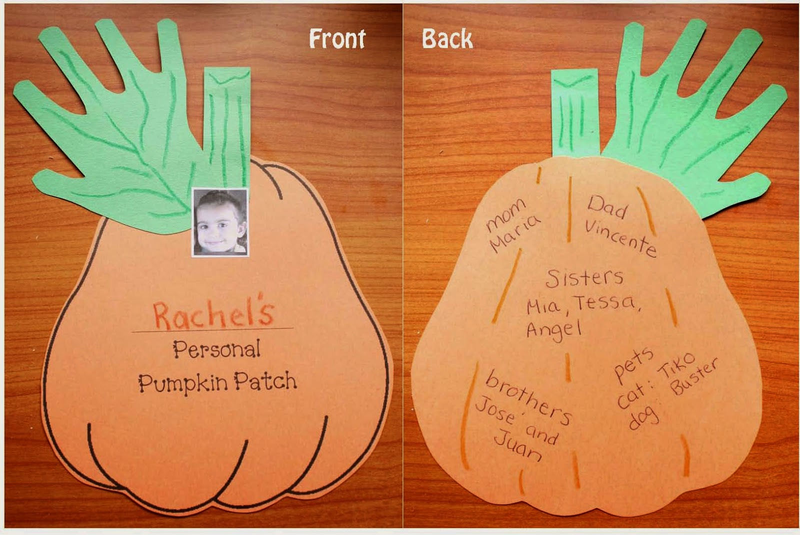 Classroom Freebies Personal Family Pumpkin Patch Craftivity