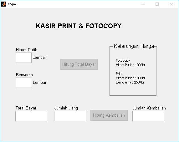 Tutorial GUI MATLAB : Program Kasir pada Gerai Print