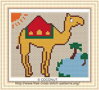 Camel, Free and easy printable cross stitch pattern