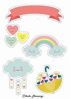 Blessing Rain or Rain of Love Free Printable Cake Toppers.