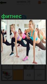 Группа девушек занимается фитнесом в спортивном зале с зеркалами